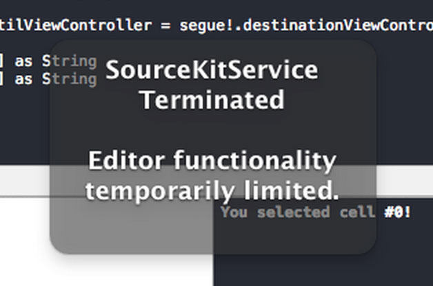 sourcekit terminated